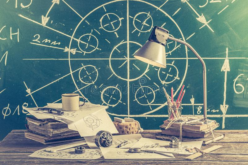 Mechanical engineer desk at the university royalty free stock image