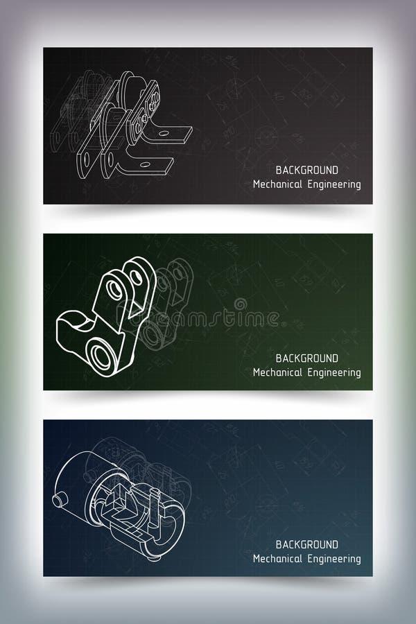Mechanical engineering drawings on blackboard royalty free stock images
