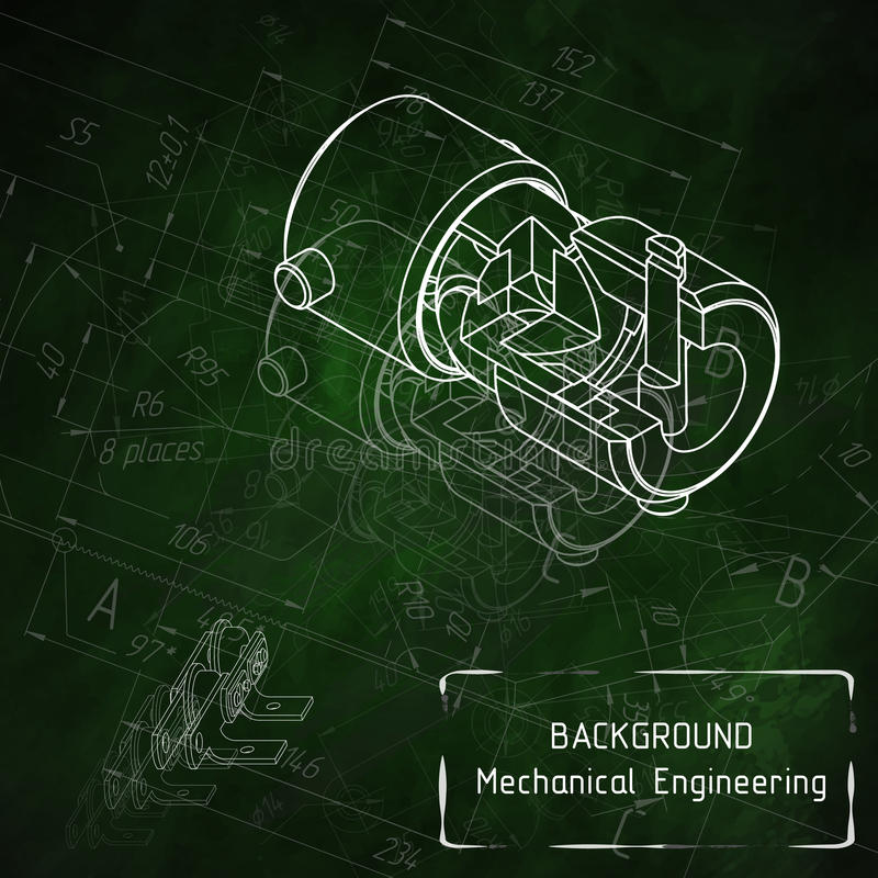 Mechanical engineering drawings on green blackboard stock photos