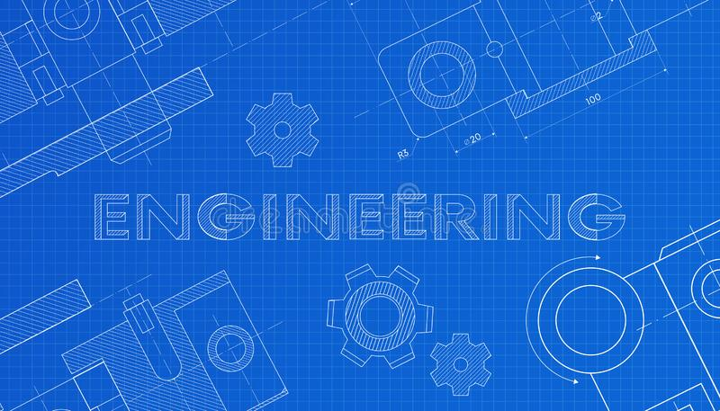 Mechanical engineering drawings. Technical drawing.Abstract Technology Background.ENGINEERING - science, technology vector illustration