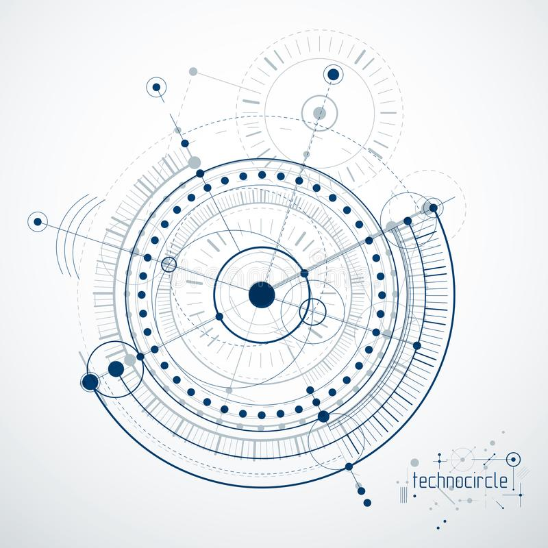 Mechanical engineering technology vector abstract background, cybernetic abstraction with innovative industrial schemes. stock illustration