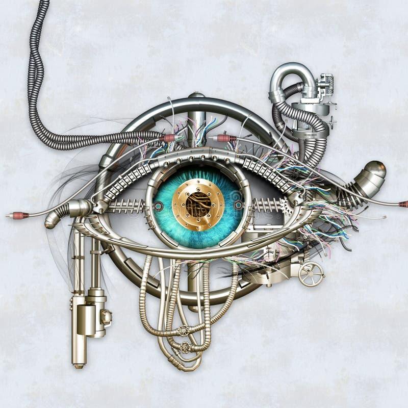 Mechanical eye. In direct eye contact vector illustration