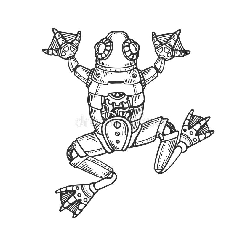 Mechanical frog animal engraving vector. Illustration. Scratch board style imitation. Black and white hand drawn image stock illustration