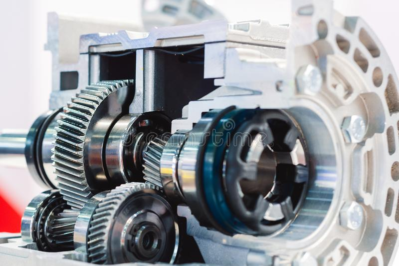 Mechanical gearbox, cross section. Helical gear. Close-up stock image