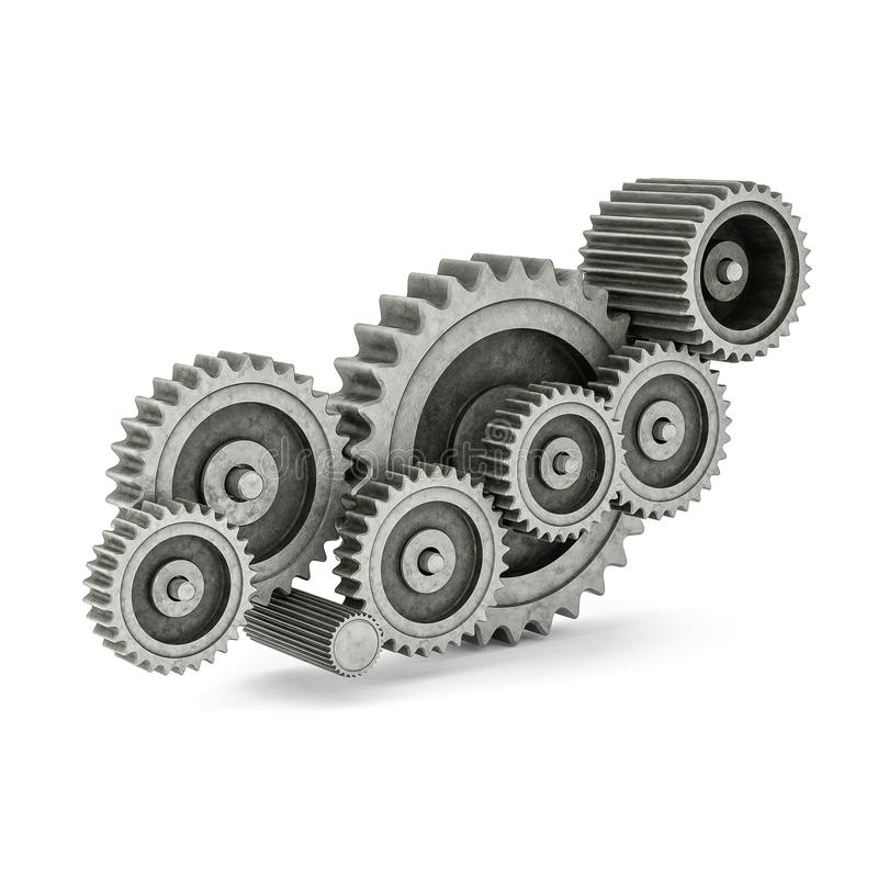 Mechanical gears 3d model. On white background royalty free illustration