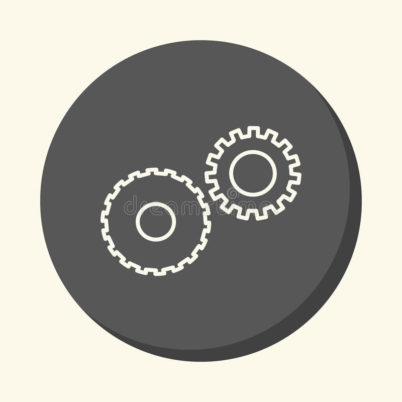 Mechanical gears symbolizing mechanics, a circular line icon with an illusion of volume, an element for your school site or bookle. Mechanical gears symbolizing royalty free illustration