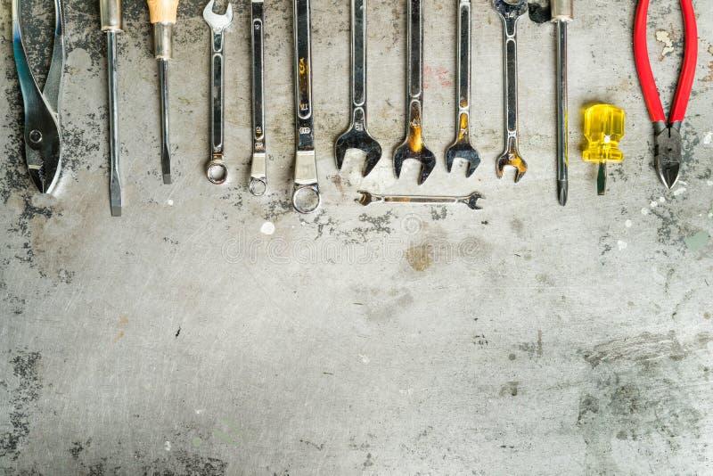 Mechanical tools set. Mechanical hand tools set on grunge metal background stock photos