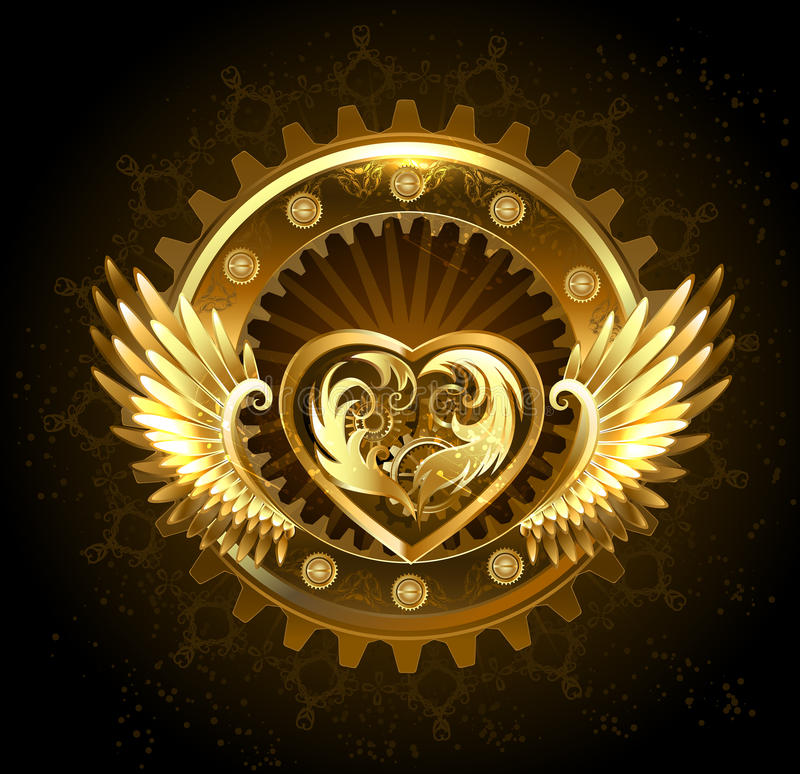 Mechanical heart with wings. Mechanical heart with gears of gold and brass, decorated with metal wings on a black background royalty free illustration