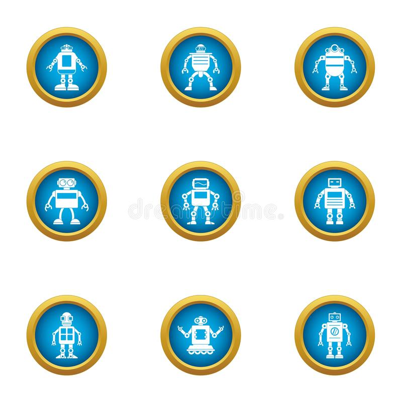 Mechanical man icons set, flat style. Mechanical man icons set. Flat set of 9 mechanical man vector icons for web isolated on white background vector illustration
