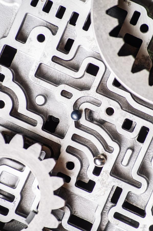 Mechanical metal pattern with large steel gears for the background. stock photos