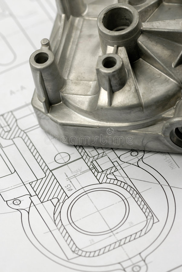 Free Mechanical Part On Engineering Drawing Royalty Free Stock Photo - 9099455