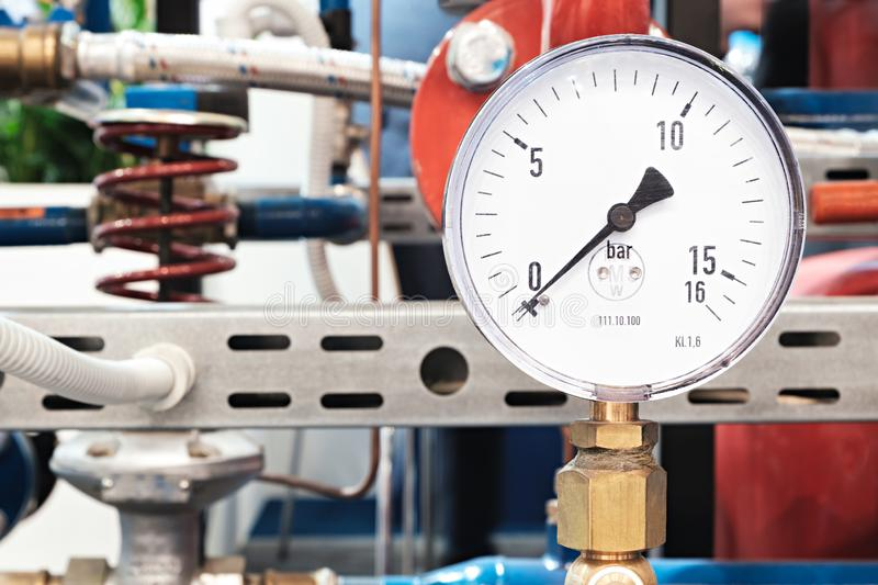 Mechanical pressure gauges. Traditional instruments for measuring pressure royalty free stock photos