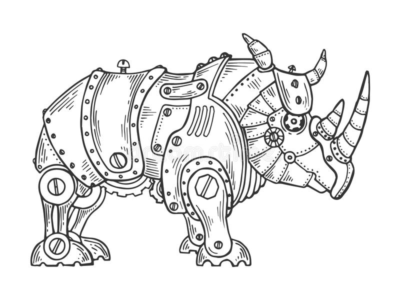 Mechanical rhinoceros animal engraving vector. Illustration. Scratch board style imitation. Black and white hand drawn image vector illustration