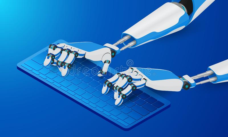 Mechanical robot hands typing on the keyboard. The automation of the workflow. vector illustration