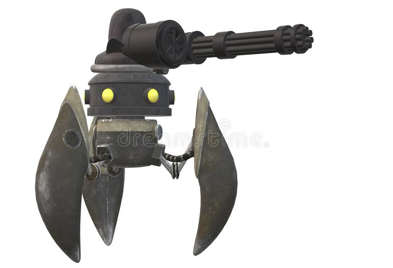 A mechanical robot with tripod legs no arms and a minigun mounted above the head stock illustration