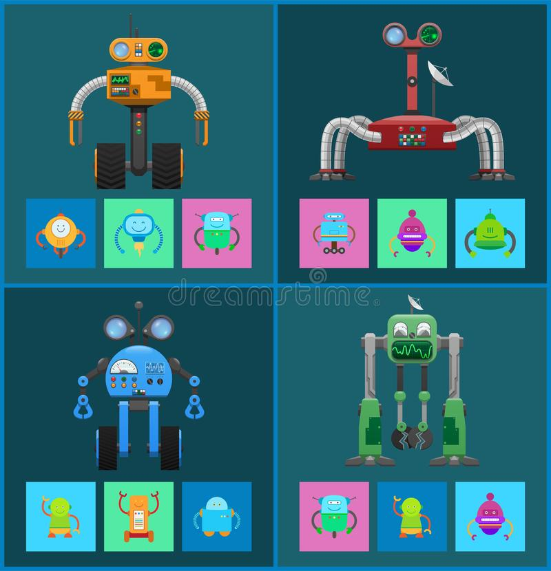 Mechanical Robots with Navigation Systems Set royalty free illustration
