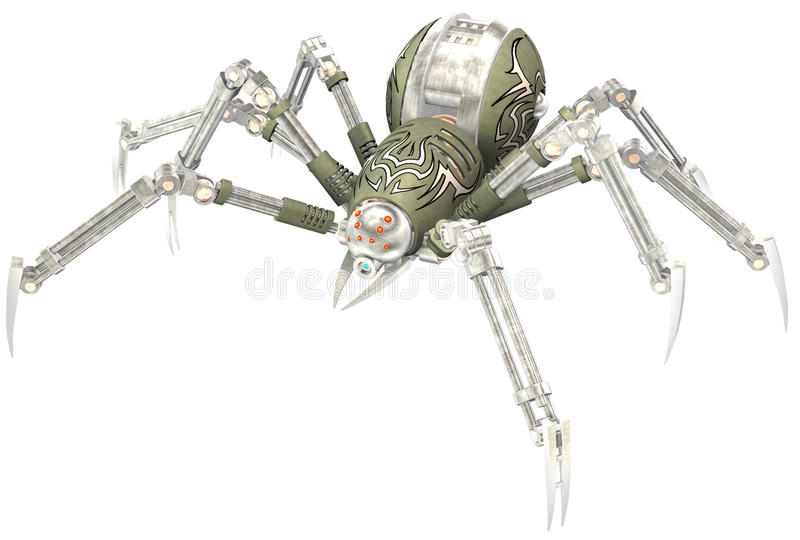 Mechanical Robot Steampunk Spider Isolated royalty free stock image
