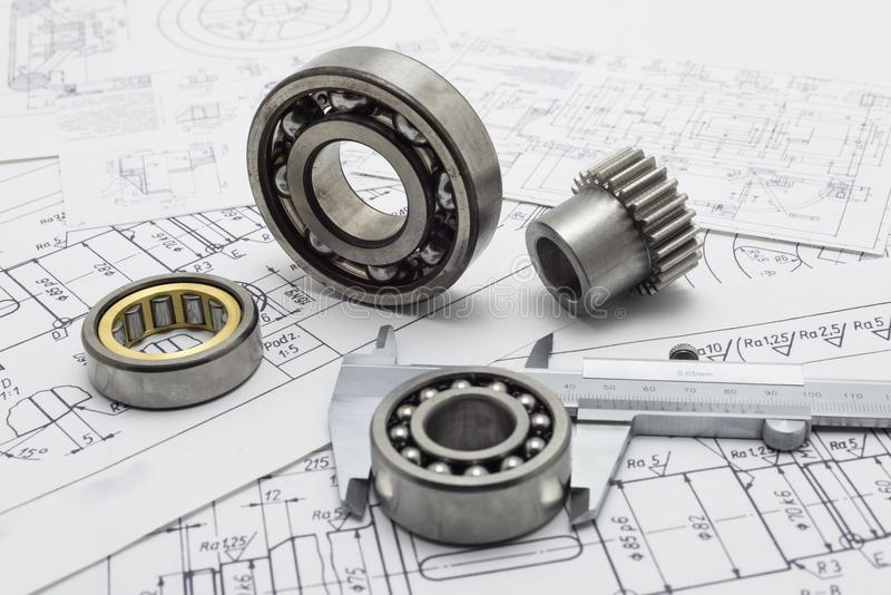 Mechanical scheme, caliper with bearing and small gear. royalty free stock photo