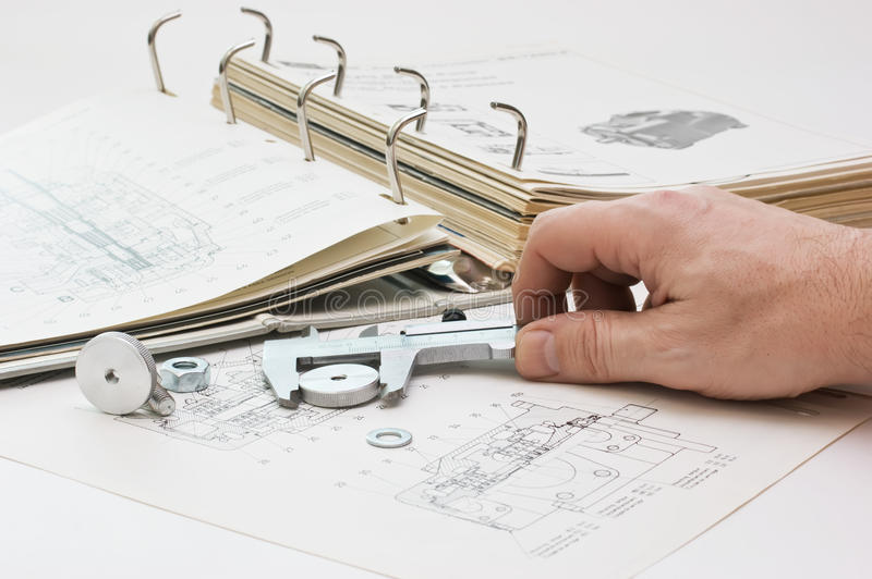 Download Mechanical Scheme And Calipers Stock Image - Image: 13398097