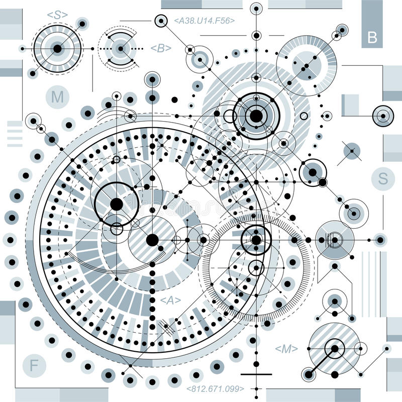 Mechanical scheme, vector engineering drawing with geometric par vector illustration