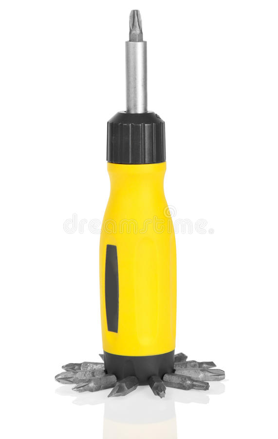 Download Mechanical Screwdriver And Set Of The Heads Stock Image - Image of toolkit, mechanical: 41962041