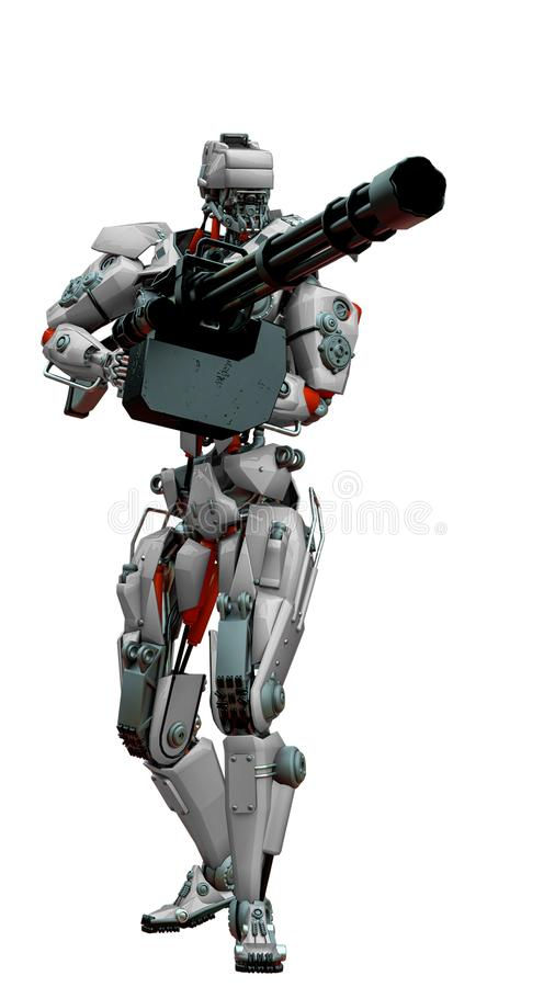 Free Mechanical Soldier Holding A Huge Machine Gun Stock Photography - 160874092