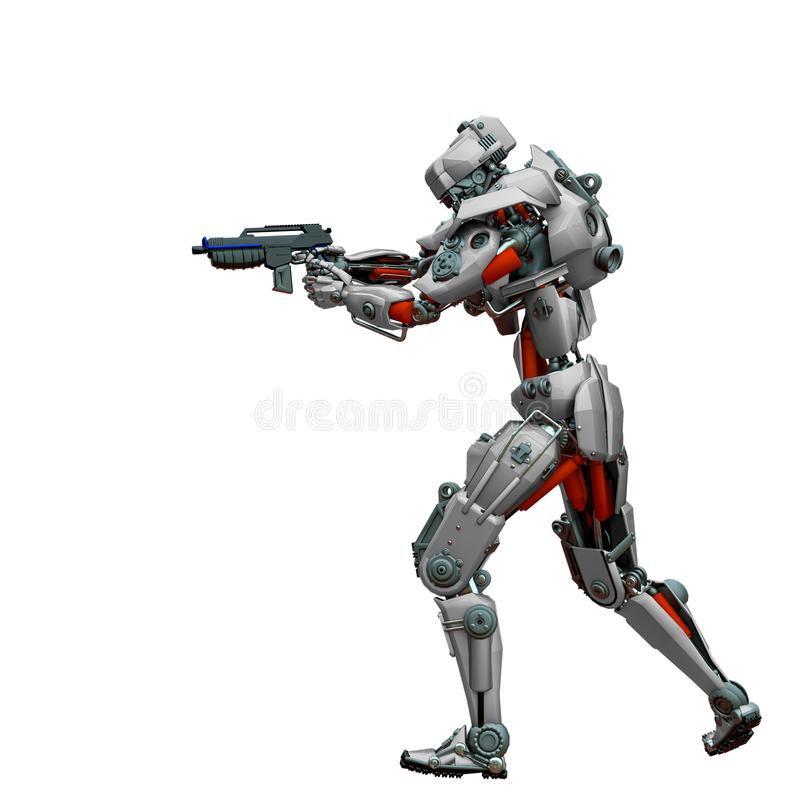 Free Mechanical Soldier Walking And Aiming Royalty Free Stock Photo - 160874125