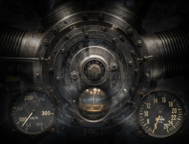 Mechanical and Steampunk grunge background collage. Old mechanism royalty free stock images