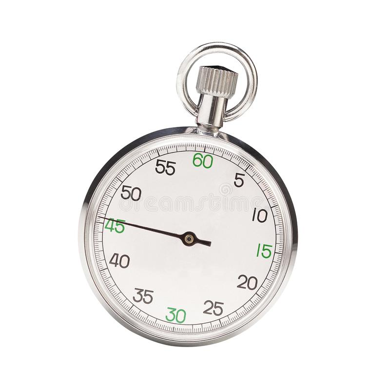 Mechanical stopwatch isolated on white stock photo