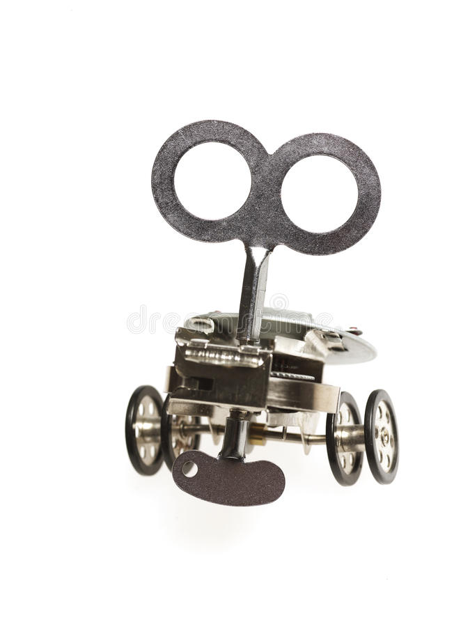 Mechanical toy. With large wind up key royalty free stock images