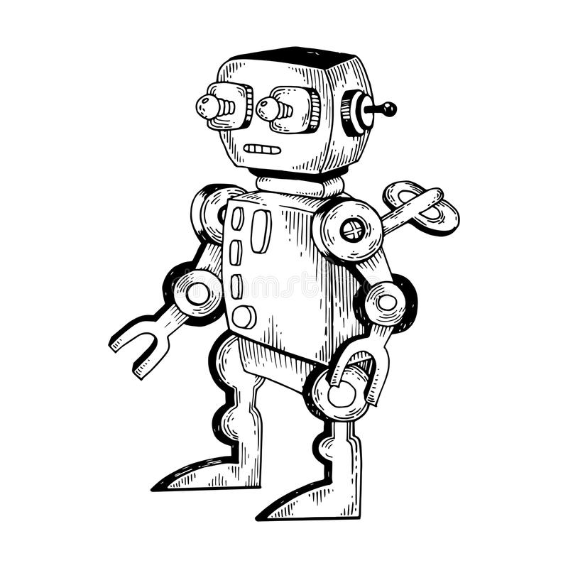 Mechanical toy robot engraving vector illustration. Scratch board style imitation. Black and white drawn image vector illustration