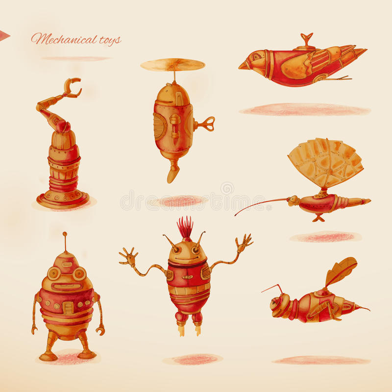Mechanical toys. Mechanical toys collection. Objects. Watercolor vector illustration
