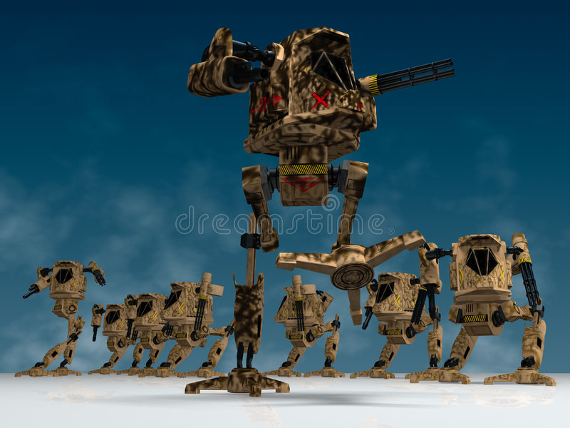 Mechanical warriors stock illustration