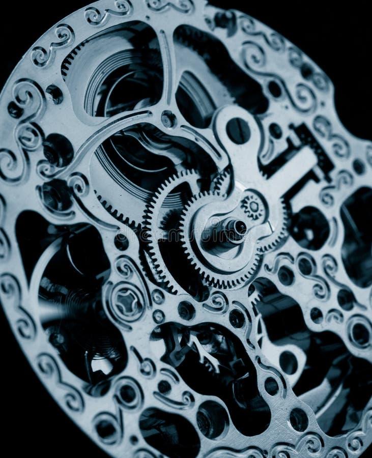 Mechanical watch caliber gears. Close up of vintage mechanical watch caliber gears royalty free stock photos