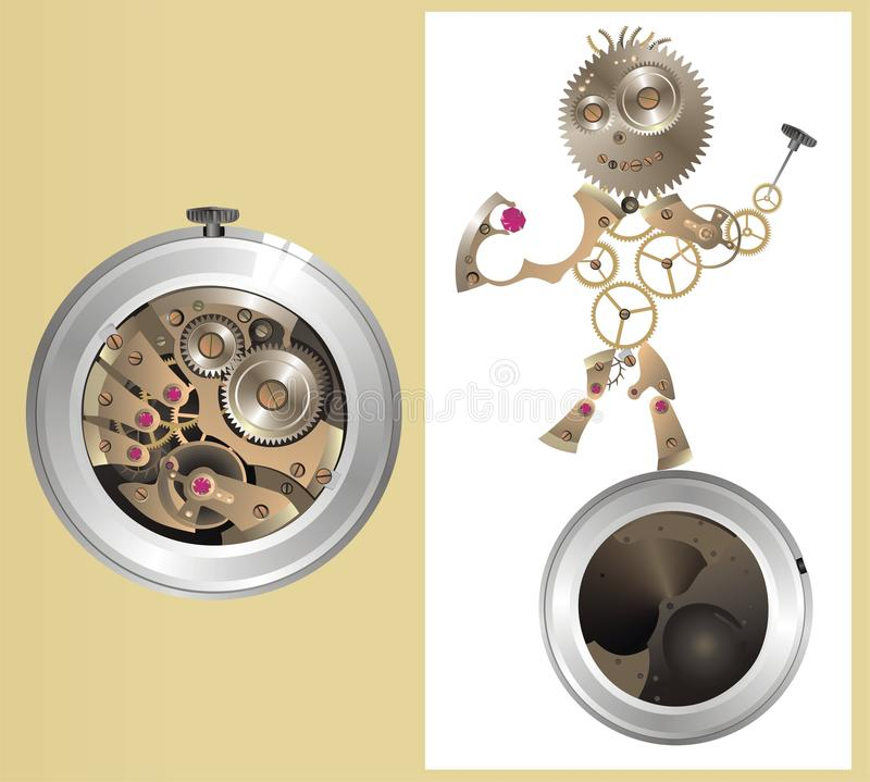 Mechanical watch-men. Sometimes, watch become alive. vector illustration royalty free illustration