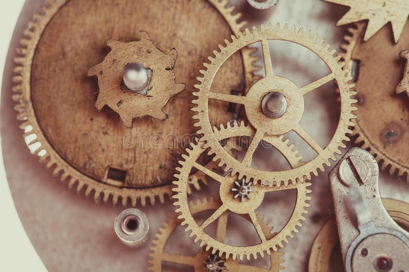 Mechanical watches close up. Vintage mechanical watches mechanism, close up gears royalty free stock images