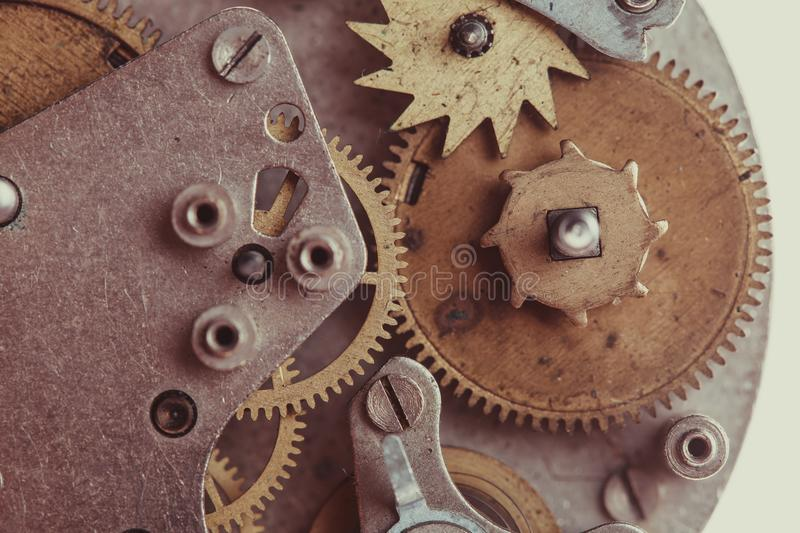 Mechanical watches close up. Vintage mechanical watches mechanism on white stock image