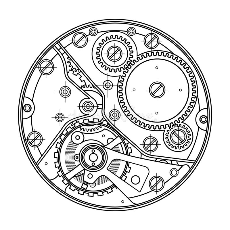 Mechanical watches with gears. Drawing of the internal device. It can be used as an example of harmonious interaction of stock illustration