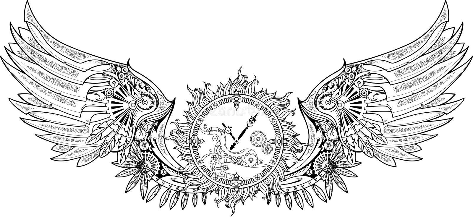 Mechanical wings made in steampunk style with clockwork. stock photography