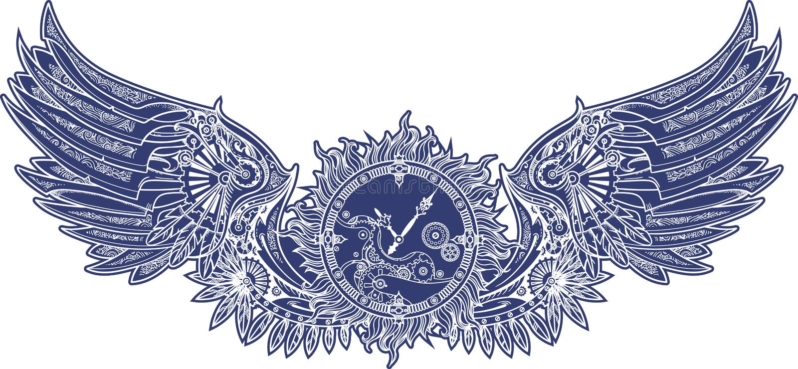 Mechanical wings in steampunk style with clockwork. Blue vector illustration