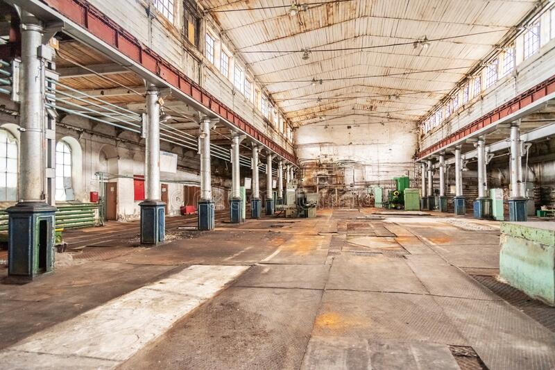 Mechanical workshop of Old Mining and metallurgical plant stock image
