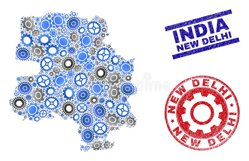 Mechanics Collage Vector New Delhi City Map and Grunge Stamps vector illustration