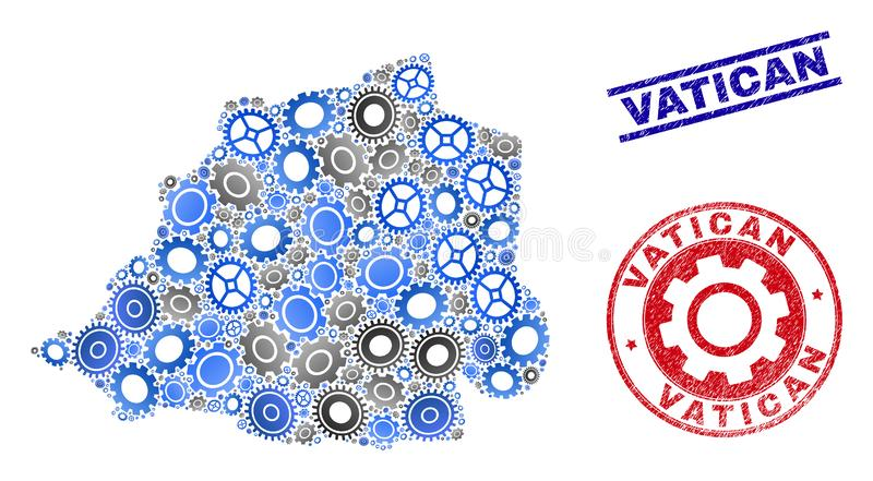 Mechanics Collage Vector Vatican Map and Grunge Seals. Mechanics vector Vatican map composition and stamps. Abstract Vatican map is designed with gradiented royalty free illustration