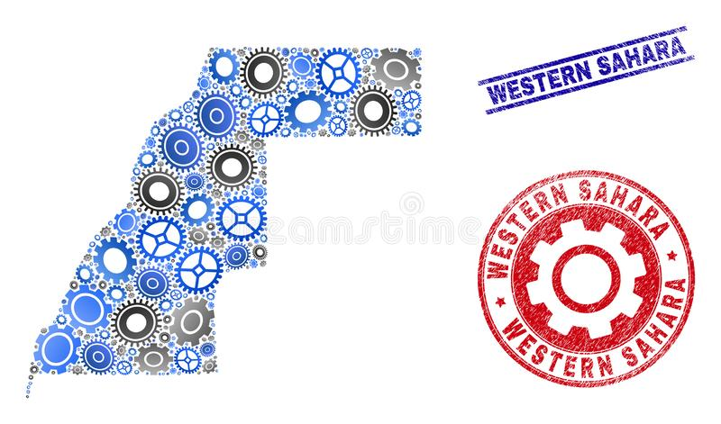 Mechanics Collage Vector Western Sahara Map and Grunge Stamps stock illustration