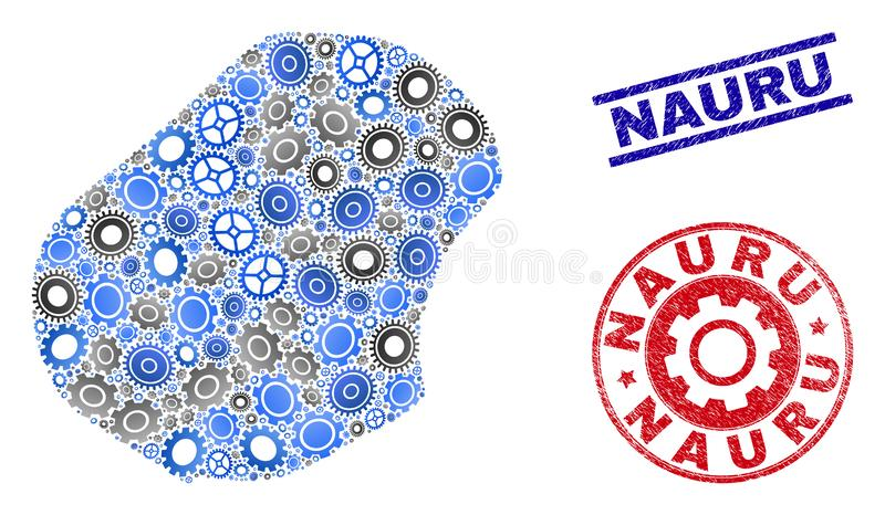 Mechanics Composition Vector Nauru Map and Grunge Stamps royalty free illustration