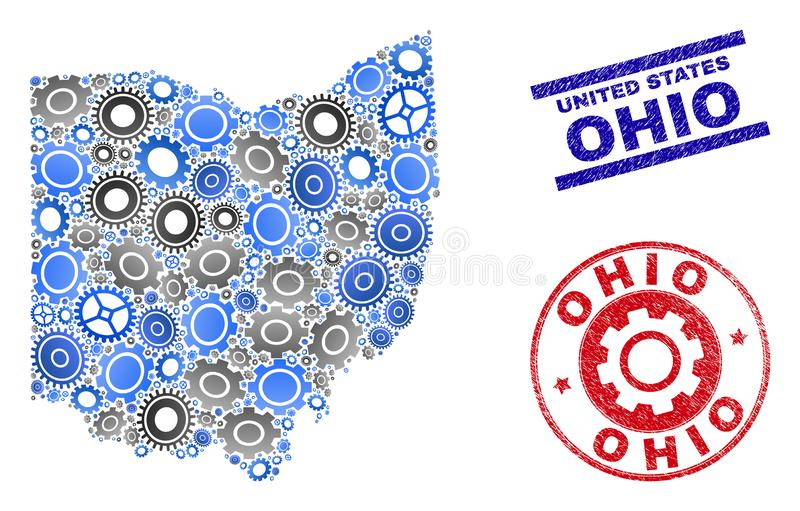 Mechanics Composition Vector Ohio State Map and Grunge Seals stock illustration
