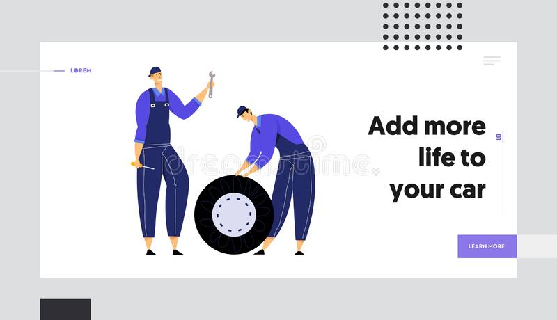 Mechanics Holding Car Wheel, Wrench and Screwdriver, Repair Service Staff with Instruments, Auto Checking royalty free illustration