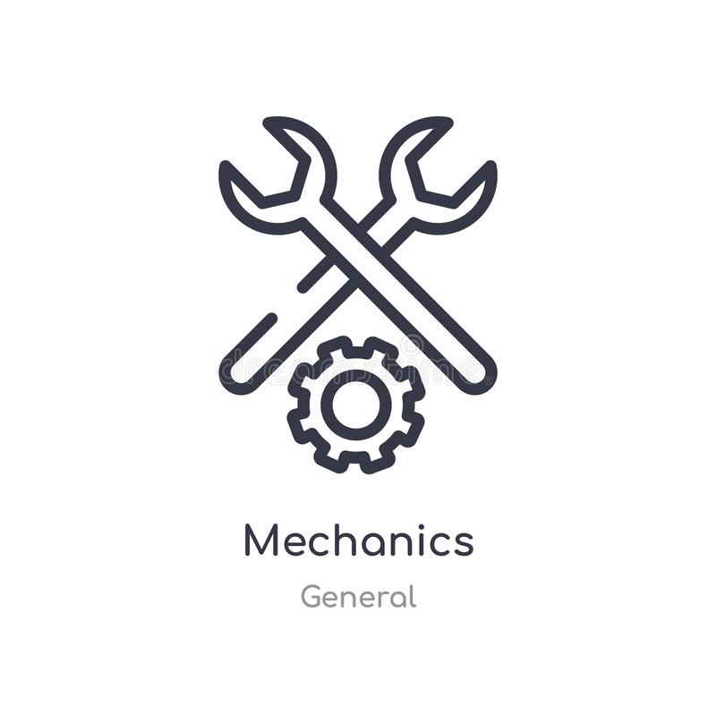 mechanics outline icon. isolated line vector illustration from general collection. editable thin stroke mechanics icon on white vector illustration
