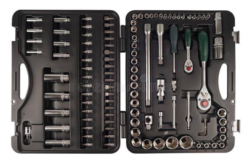 Mechanics Tool Set and Mechanic`s Tool Box Isolated on White Bac royalty free stock photo
