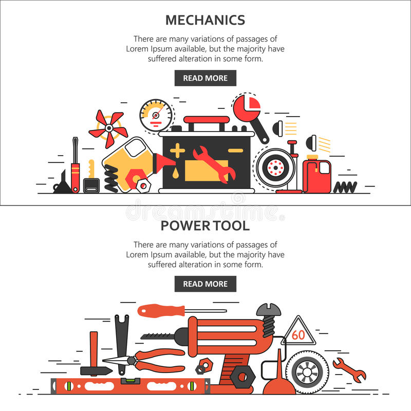 Mechanics, tools. Banners. Car appliances, Tools for repair vector illustration